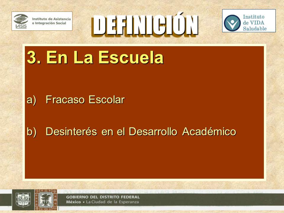 3. En La Escuela a)Fracaso Escolar b)Desinterés en el Desarrollo Académico DEFINICIÓNDEFINICIÓN