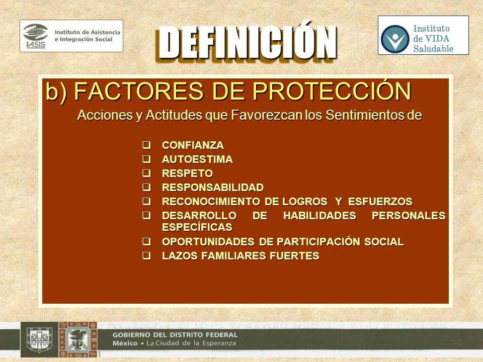 b) FACTORES DE PROTECCIÓN Acciones y Actitudes que Favorezcan los Sentimientos de CONFIANZA CONFIANZA AUTOESTIMA AUTOESTIMA RESPETO RESPETO RESPONSABI