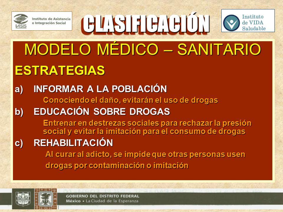 MODELO MÉDICO – SANITARIO ESTRATEGIAS a)INFORMAR A LA POBLACIÓN Conociendo el daño, evitarán el uso de drogas b)EDUCACIÓN SOBRE DROGAS Entrenar en des