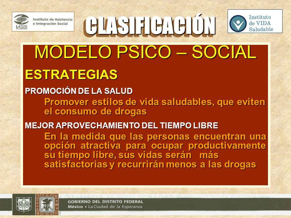 MODELO PSICO – SOCIAL ESTRATEGIAS PROMOCIÓN DE LA SALUD Promover estilos de vida saludables, que eviten el consumo de drogas MEJOR APROVECHAMIENTO DEL