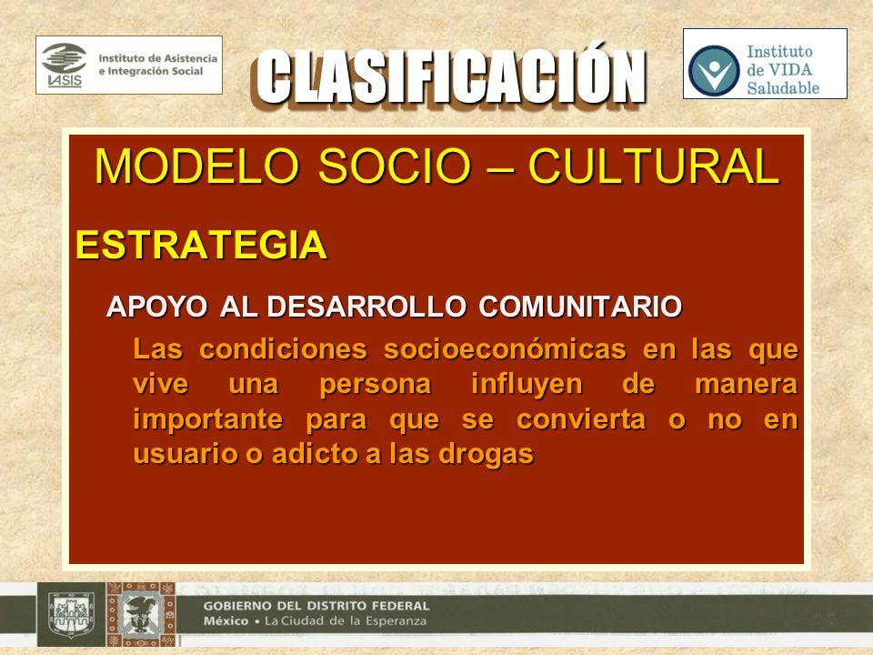 MODELO SOCIO – CULTURAL ESTRATEGIA APOYO AL DESARROLLO COMUNITARIO APOYO AL DESARROLLO COMUNITARIO Las condiciones socioeconómicas en las que vive una