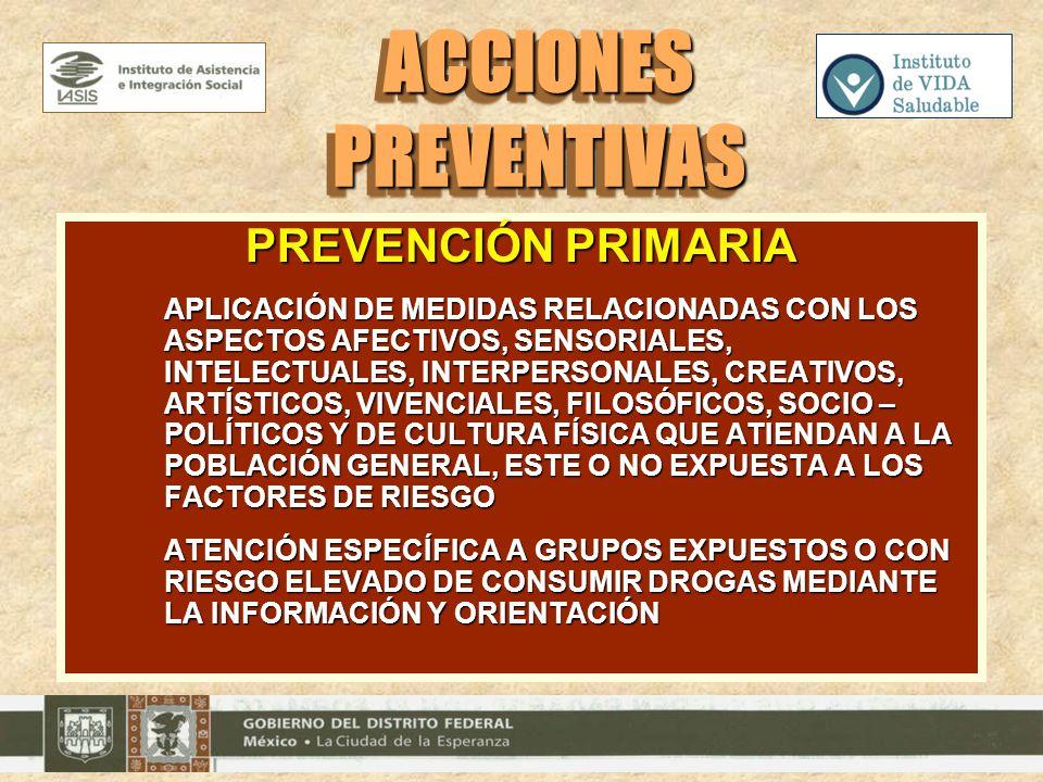 PREVENCIÓN PRIMARIA APLICACIÓN DE MEDIDAS RELACIONADAS CON LOS ASPECTOS AFECTIVOS, SENSORIALES, INTELECTUALES, INTERPERSONALES, CREATIVOS, ARTÍSTICOS,