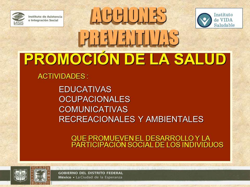 PROMOCIÓN DE LA SALUD ACTIVIDADES : EDUCATIVASOCUPACIONALESCOMUNICATIVAS RECREACIONALES Y AMBIENTALES QUE PROMUEVEN EL DESARROLLO Y LA PARTICIPACIÓN S