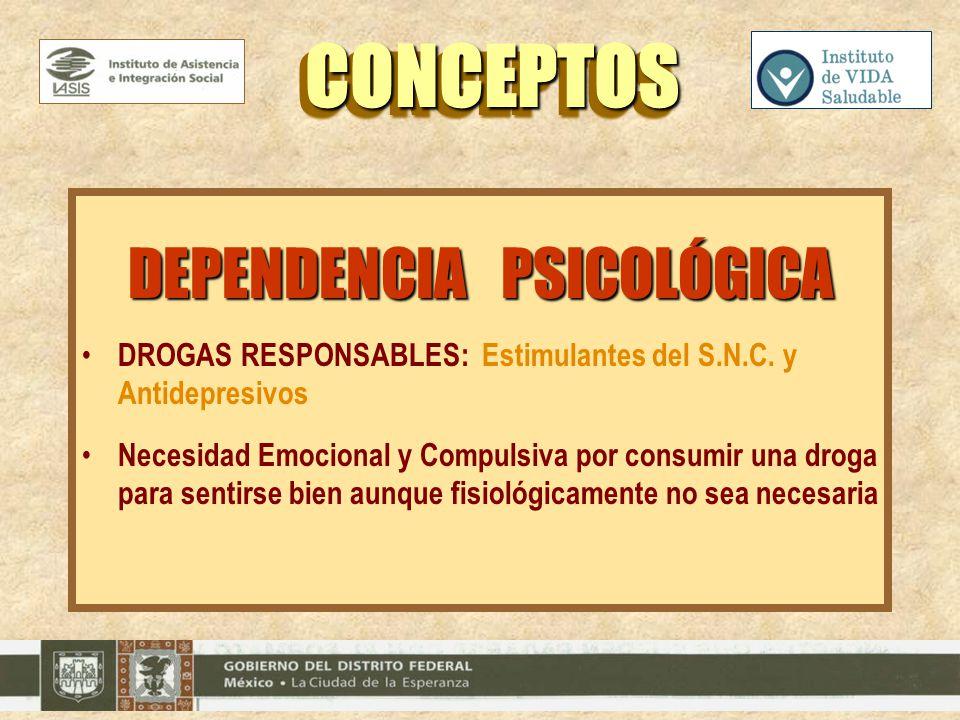 DEPENDENCIA PSICOLÓGICA DROGAS RESPONSABLES: Estimulantes del S.N.C. y Antidepresivos Necesidad Emocional y Compulsiva por consumir una droga para sen