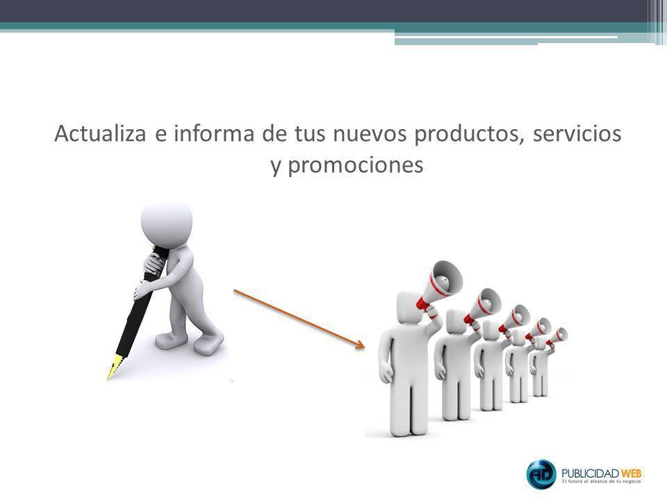 Actualiza e informa de tus nuevos productos, servicios y promociones