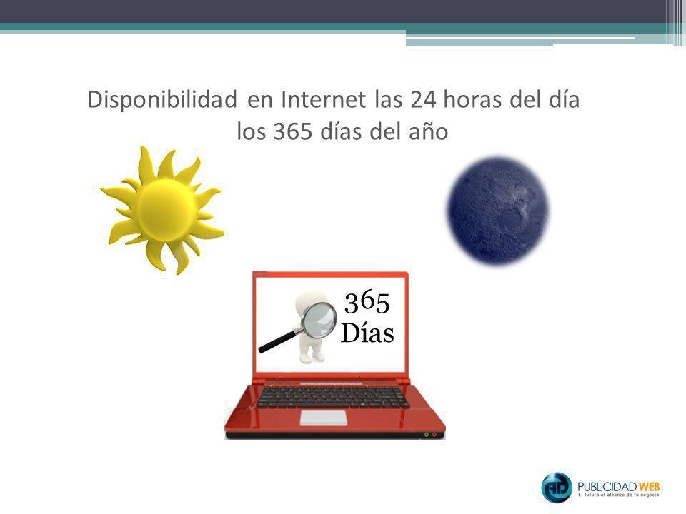 Disponibilidad en Internet las 24 horas del día los 365 días del año 365 Días