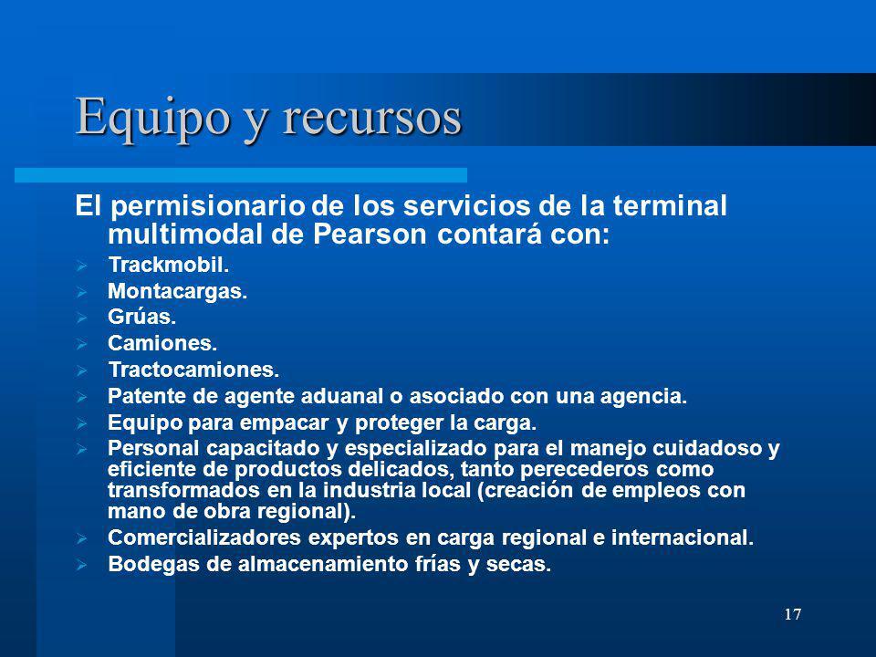 17 Equipo y recursos El permisionario de los servicios de la terminal multimodal de Pearson contará con: Trackmobil. Montacargas. Grúas. Camiones. Tra