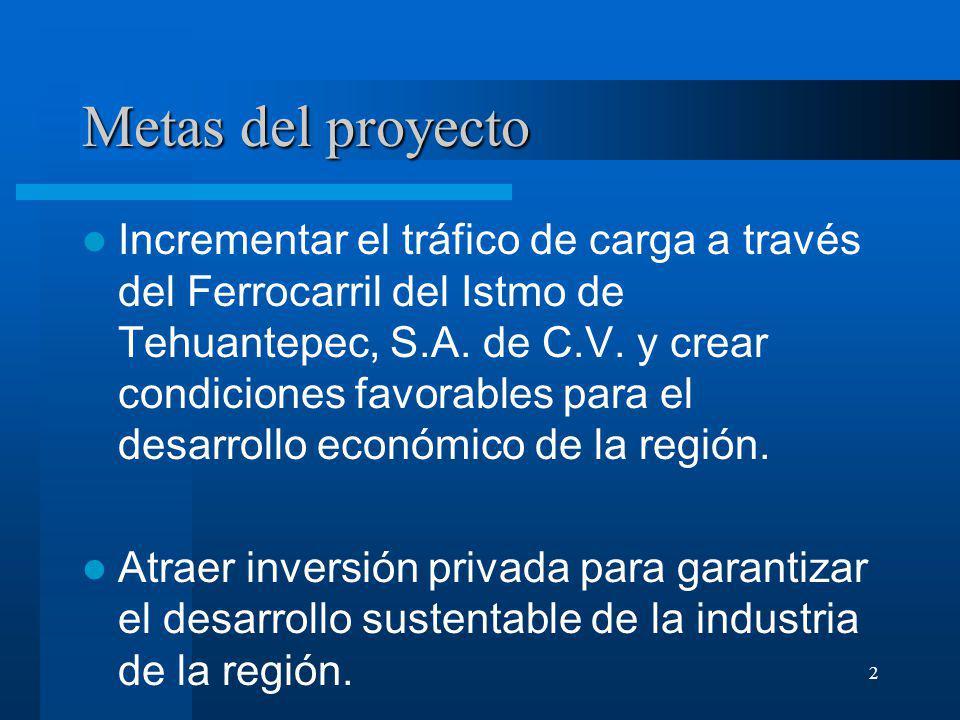 2 Metas del proyecto Incrementar el tráfico de carga a través del Ferrocarril del Istmo de Tehuantepec, S.A. de C.V. y crear condiciones favorables pa