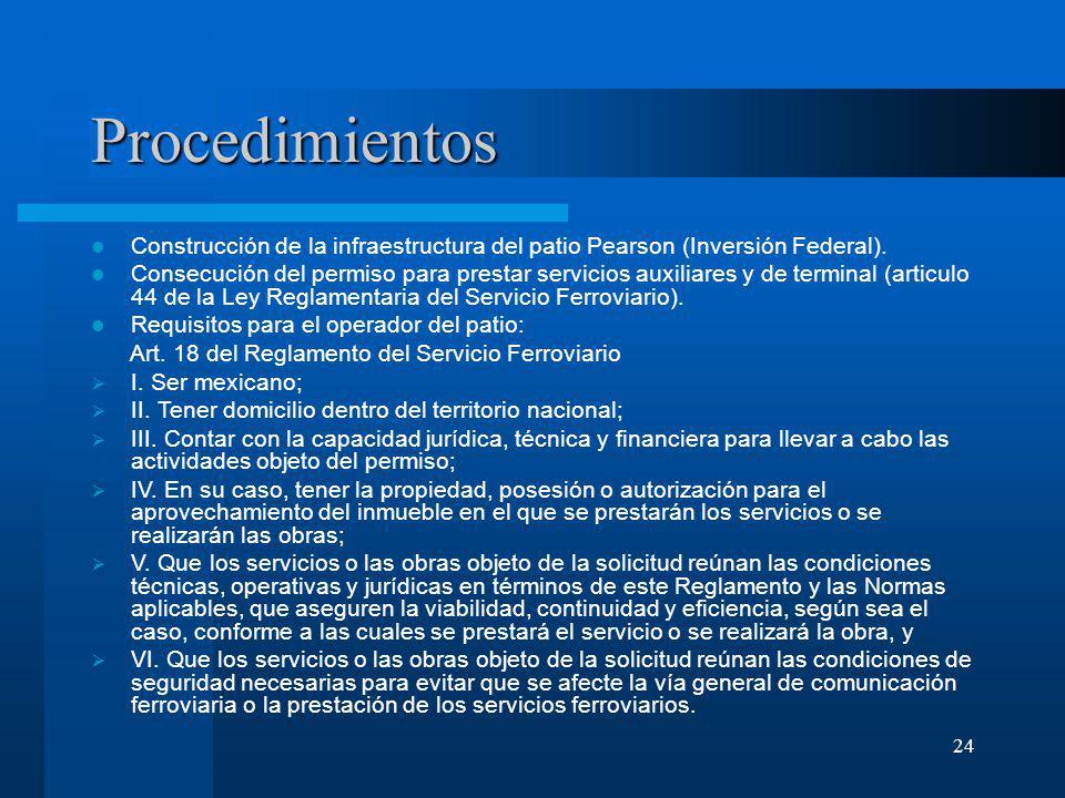 24 Procedimientos Construcción de la infraestructura del patio Pearson (Inversión Federal). Consecución del permiso para prestar servicios auxiliares