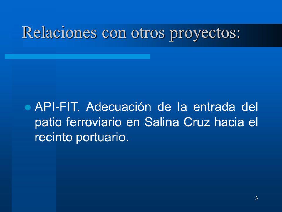 3 Relaciones con otros proyectos: API-FIT. Adecuación de la entrada del patio ferroviario en Salina Cruz hacia el recinto portuario.