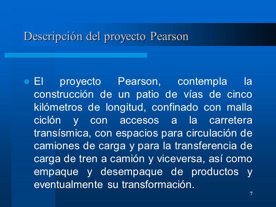 7 Descripción del proyecto Pearson El proyecto Pearson, contempla la construcción de un patio de vías de cinco kilómetros de longitud, confinado con m