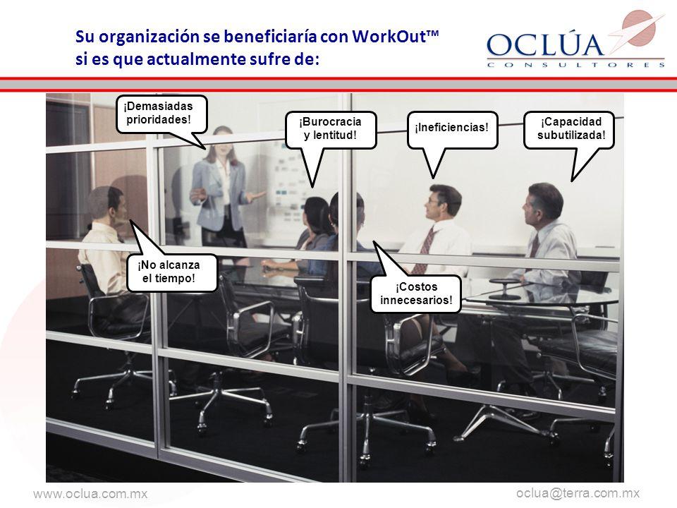 www.oclua.com.mx oclua@terra.com.mx Su organización se beneficiaría con WorkOut si es que actualmente sufre de: ¡Demasiadas prioridades.