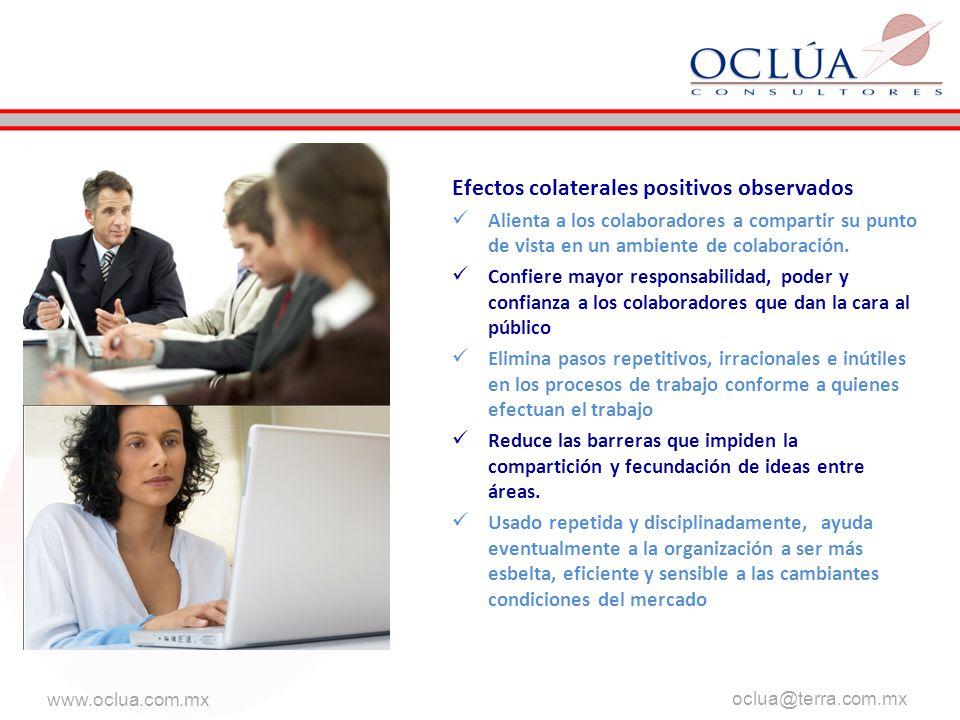 www.oclua.com.mx oclua@terra.com.mx …está diseñado para crear un ambiente en el que cada hombre y cada mujer en la compañía puedan percibir y sentir la conexión entre lo que él y ella hacen día a día y el tener éxito en el mercado.
