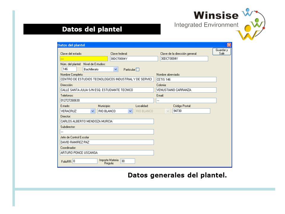 Datos del plantel Datos generales del plantel.