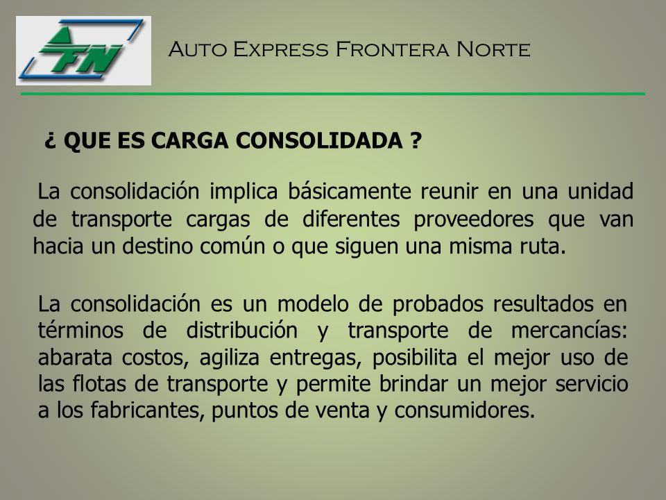 La consolidación implica básicamente reunir en una unidad de transporte cargas de diferentes proveedores que van hacia un destino común o que siguen una misma ruta.
