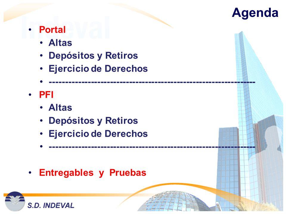 Agenda Portal Altas Depósitos y Retiros Ejercicio de Derechos ----------------------------------------------------------------- PFI Altas Depósitos y