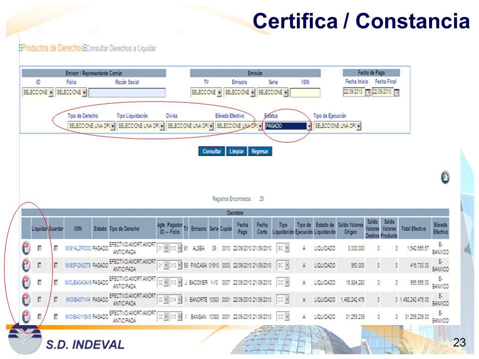Certifica / Constancia 23
