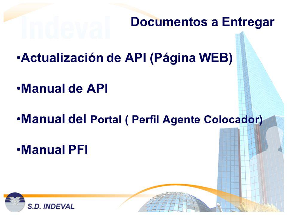 Documentos a Entregar Actualización de API (Página WEB) Manual de API Manual del Portal ( Perfil Agente Colocador) Manual PFI