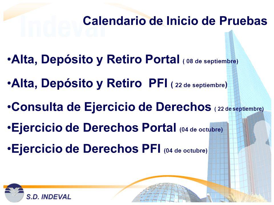 Calendario de Inicio de Pruebas Alta, Depósito y Retiro Portal ( 08 de septiembre) Alta, Depósito y Retiro PFI ( 22 de septiembre ) Consulta de Ejerci