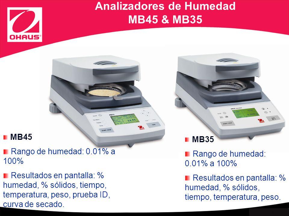 Internal use only Analizadores de Humedad MB45 & MB35 MB45 Rango de humedad: 0.01% a 100% Resultados en pantalla: % humedad, % sólidos, tiempo, temperatura, peso, prueba ID, curva de secado.