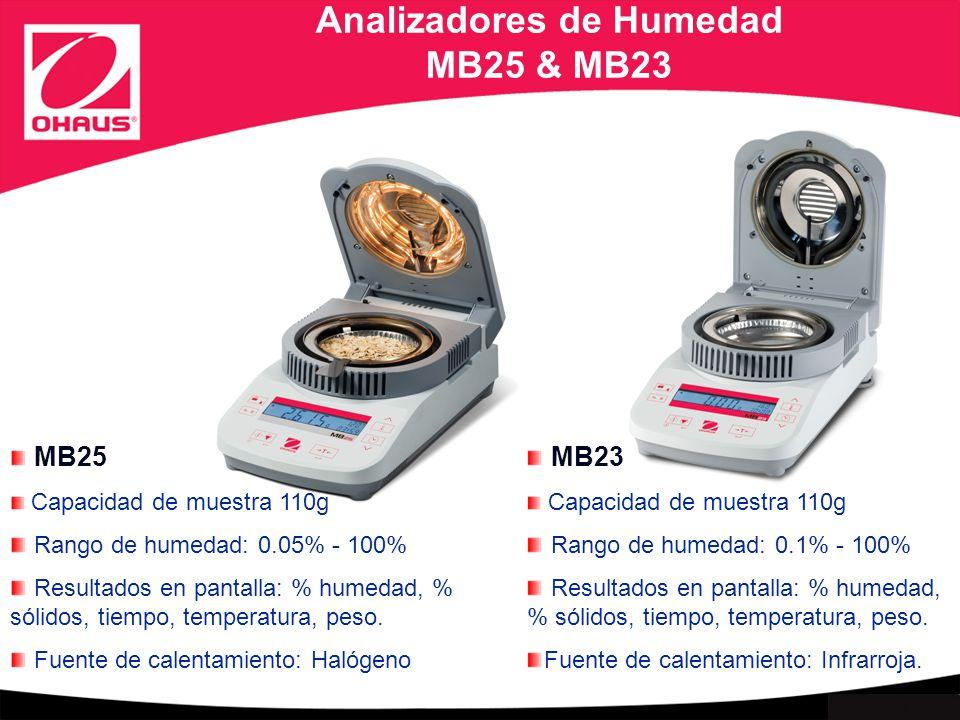 Internal use only Analizadores de Humedad MB25 & MB23 MB23 Capacidad de muestra 110g Rango de humedad: 0.1% - 100% Resultados en pantalla: % humedad, % sólidos, tiempo, temperatura, peso.