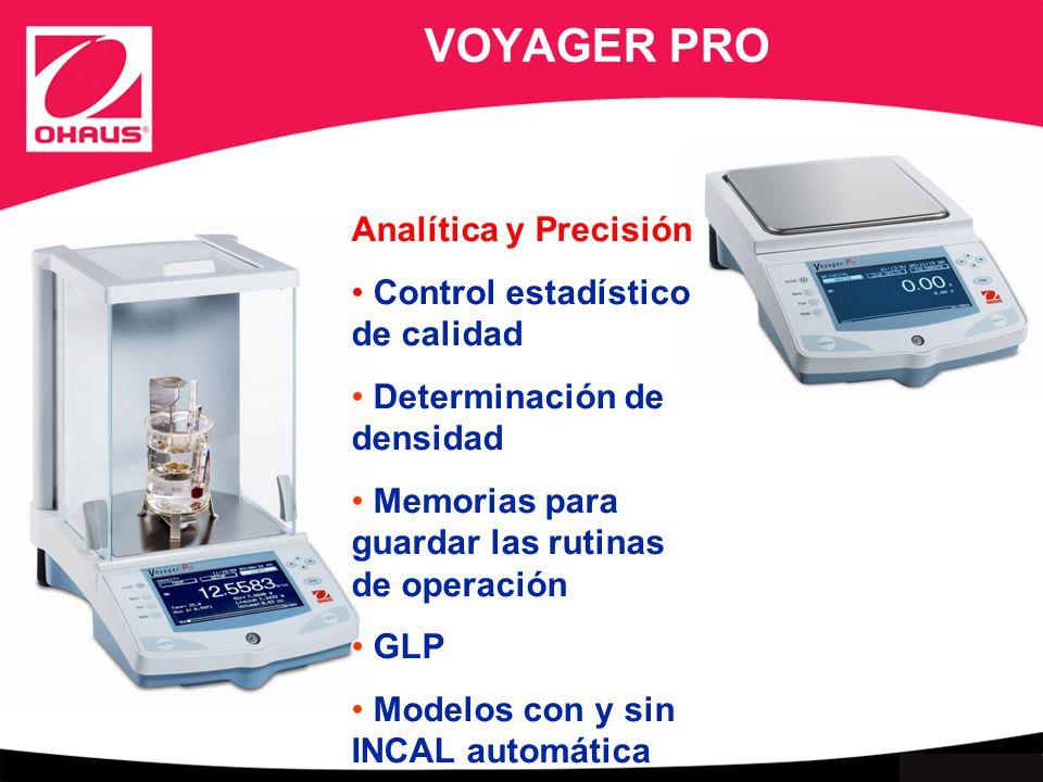 Internal use only VOYAGER PRO Analítica y Precisión Control estadístico de calidad Determinación de densidad Memorias para guardar las rutinas de operación GLP Modelos con y sin INCAL automática