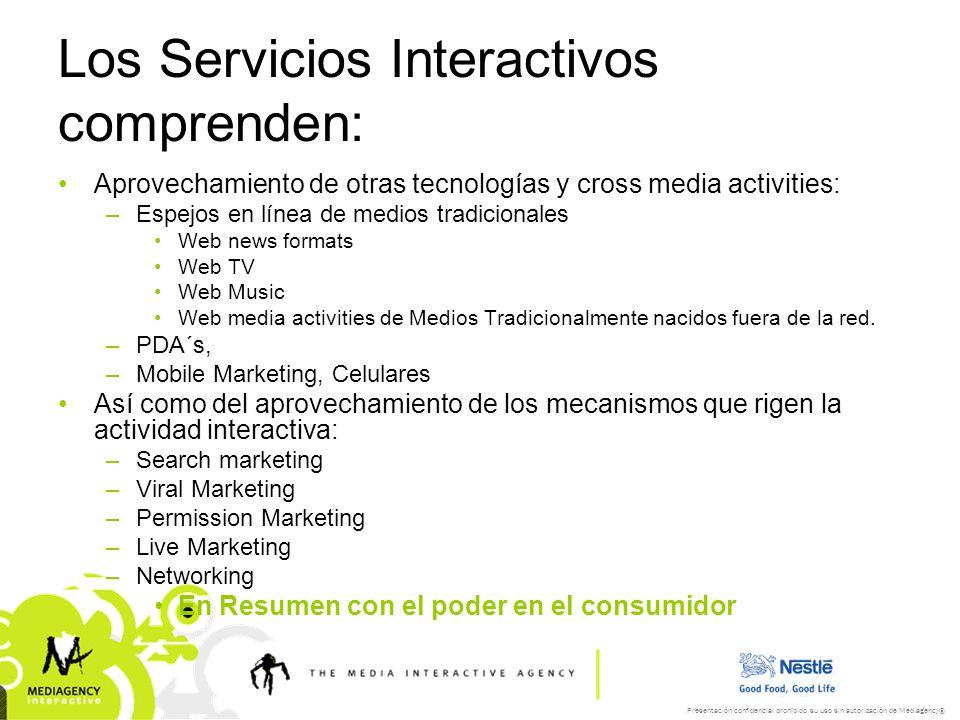 Presentación confidencial prohibido su uso sin autorización de Mediagency® Los Servicios Interactivos comprenden: Aprovechamiento de otras tecnologías