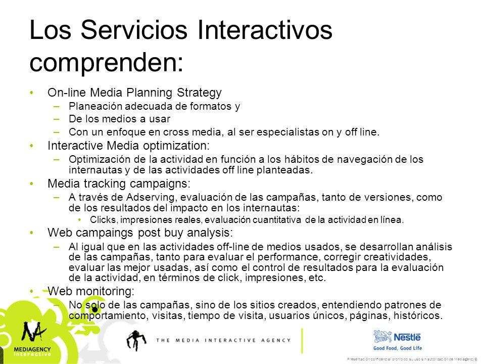 Presentación confidencial prohibido su uso sin autorización de Mediagency® Los Servicios Interactivos comprenden: On-line Media Planning Strategy –Pla
