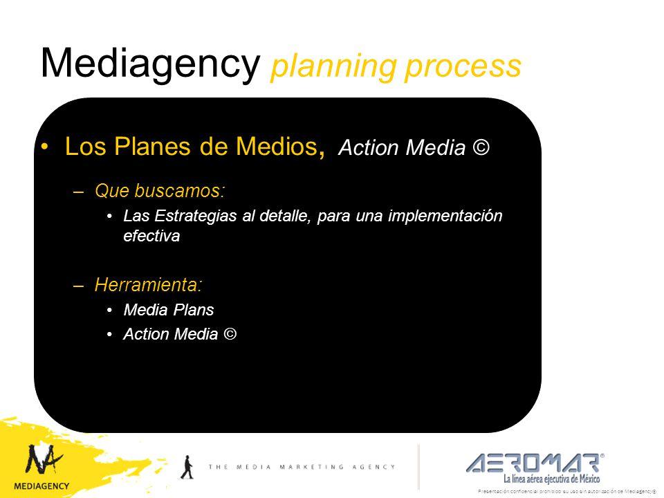 Presentación confidencial prohibido su uso sin autorización de Mediagency® Mediagency planning process Los Planes de Medios, Action Media © –Que busca