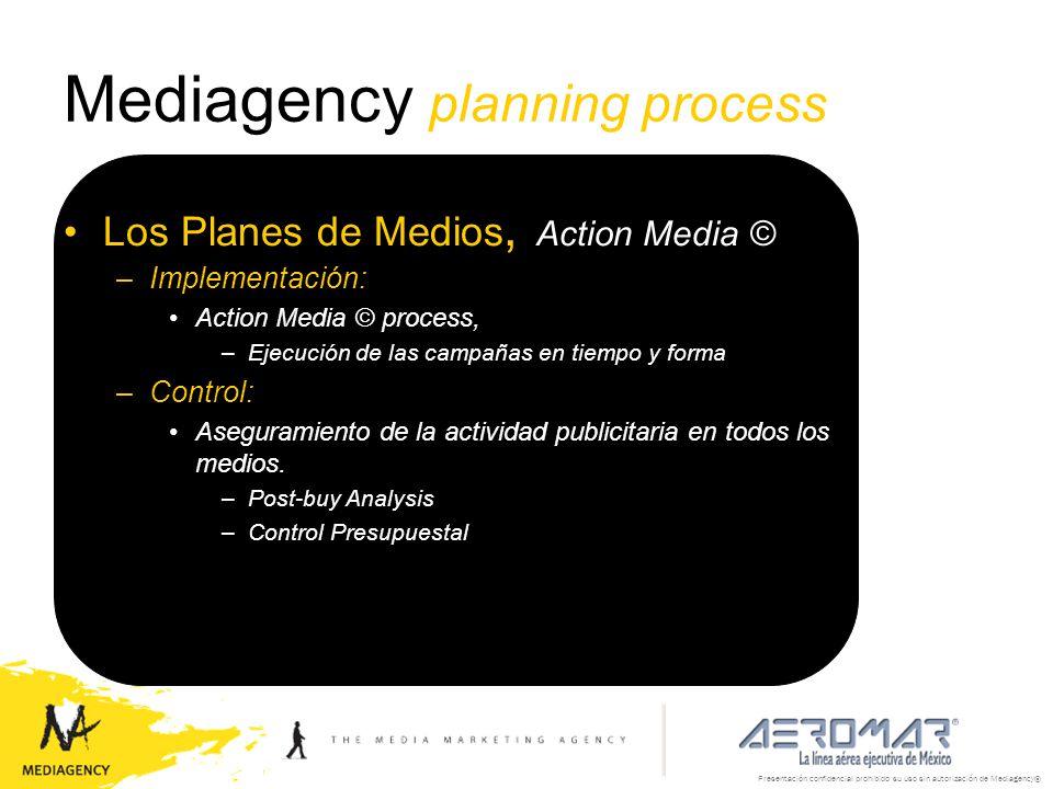 Presentación confidencial prohibido su uso sin autorización de Mediagency® Mediagency planning process Los Planes de Medios, Action Media © –Implement