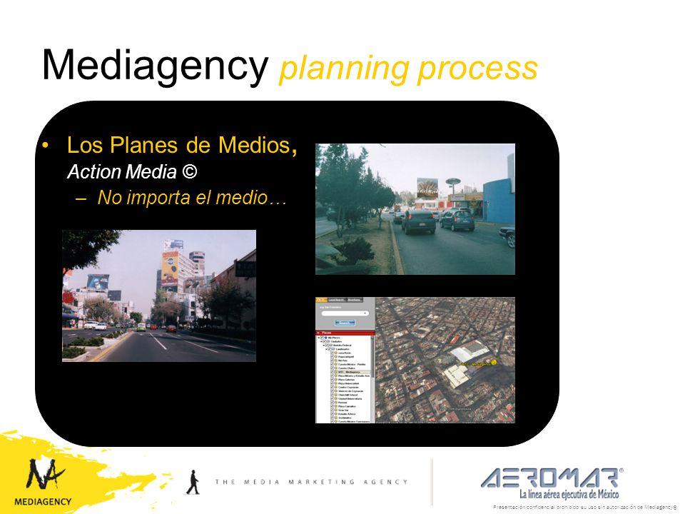 Presentación confidencial prohibido su uso sin autorización de Mediagency® Mediagency planning process Los Planes de Medios, Action Media © –No import