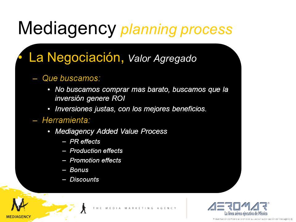 Presentación confidencial prohibido su uso sin autorización de Mediagency® Mediagency planning process La Negociación, Valor Agregado –Que buscamos: N