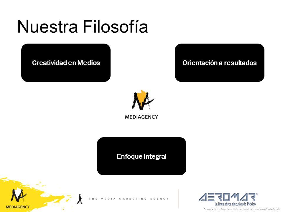 Presentación confidencial prohibido su uso sin autorización de Mediagency® Nuestra Filosofía Creatividad en Medios Enfoque Integral Orientación a resu