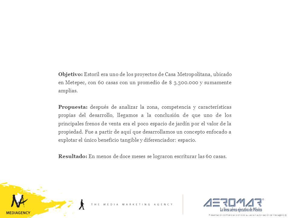Presentación confidencial prohibido su uso sin autorización de Mediagency® Objetivo: Estoril era uno de los proyectos de Casa Metropolitana, ubicado e