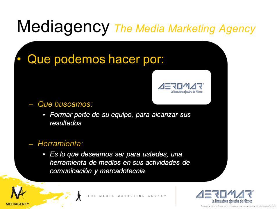 Mediagency The Media Marketing Agency Que podemos hacer por: –Que buscamos: Formar parte de su equipo, para alcanzar sus resultados –Herramienta: Es l