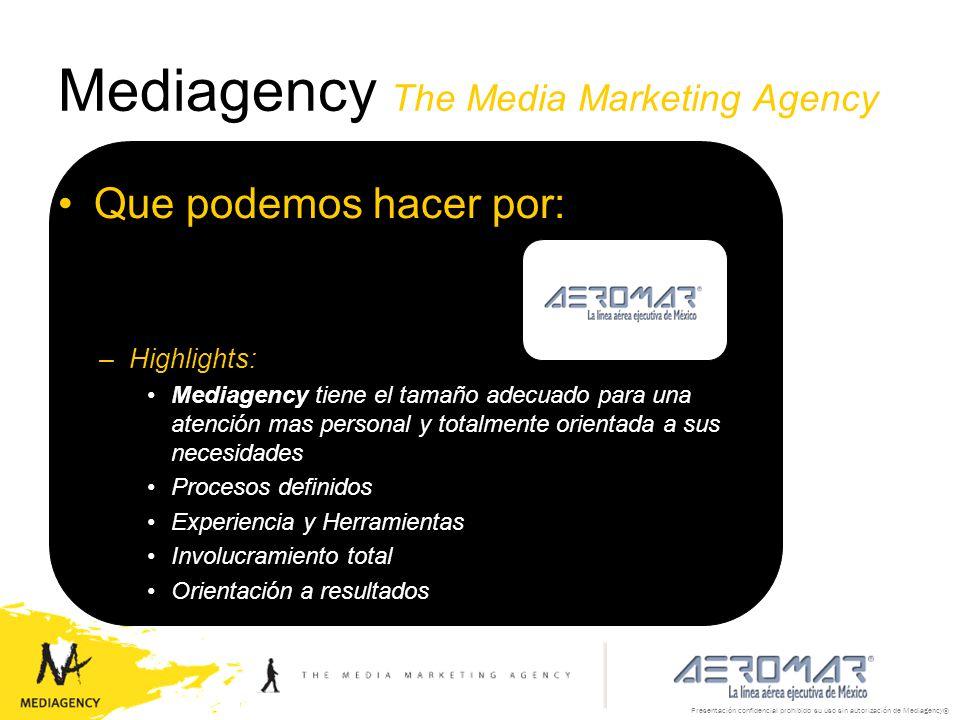 Presentación confidencial prohibido su uso sin autorización de Mediagency® Mediagency The Media Marketing Agency Que podemos hacer por: –Highlights: M