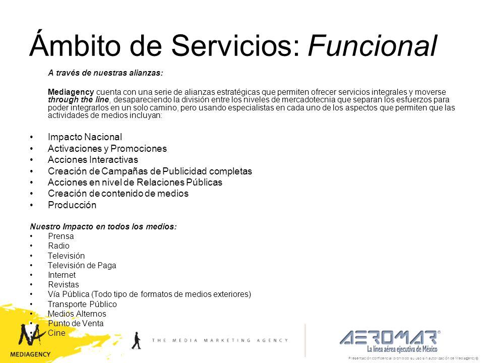 Presentación confidencial prohibido su uso sin autorización de Mediagency® Ámbito de Servicios: Funcional A través de nuestras alianzas: Mediagency cu