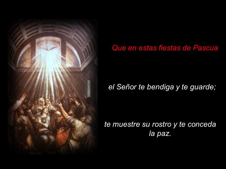Que en estas fiestas de Pascua el Señor te bendiga y te guarde; te muestre su rostro y te conceda la paz.