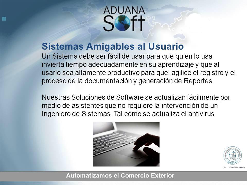 Sistemas Amigables al Usuario Un Sistema debe ser fácil de usar para que quien lo usa invierta tiempo adecuadamente en su aprendizaje y que al usarlo