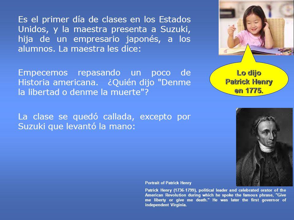 Es el primer día de clases en los Estados Unidos, y la maestra presenta a Suzuki, hija de un empresario japonés, a los alumnos. La maestra les dice: E