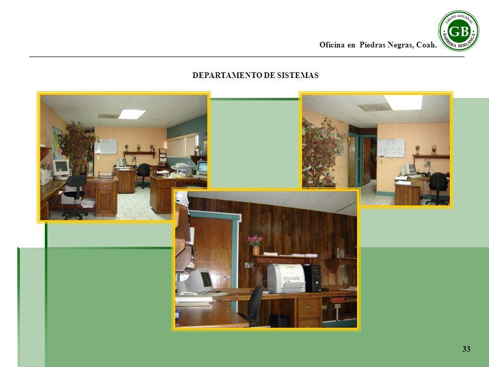Oficina en Piedras Negras, Coah. DEPARTAMENTO DE SISTEMAS 33