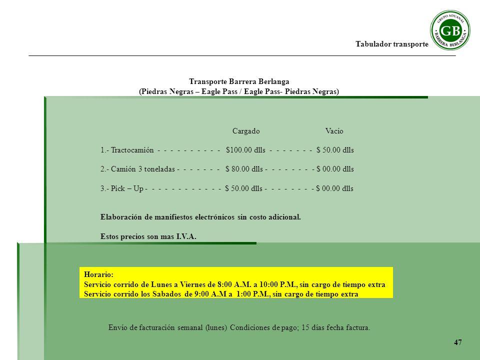 Tabulador transporte Cargado Vacío 1.- Tractocamión - - - - - - - - - - $100.00 dlls - - - - - - - $ 50.00 dlls 2.- Camión 3 toneladas - - - - - - - $ 80.00 dlls - - - - - - - - $ 00.00 dlls 3.- Pick – Up - - - - - - - - - - - - $ 50.00 dlls - - - - - - - - $ 00.00 dlls Elaboración de manifiestos electrónicos sin costo adicional.