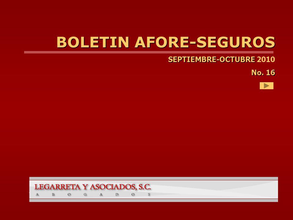 BOLETIN AFORE-SEGUROS SEPTIEMBRE-OCTUBRE SEPTIEMBRE-OCTUBRE 2010 No. 16