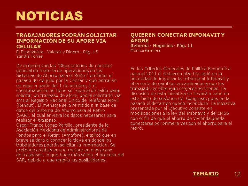 NOTICIAS 12 TEMARIO TRABAJADORES PODRÁN SOLICITAR INFORMACIÓN DE SU AFORE VÍA CELULAR El Economista - Valores y Dinero - Pág. 15 Yuridia Torres De acu