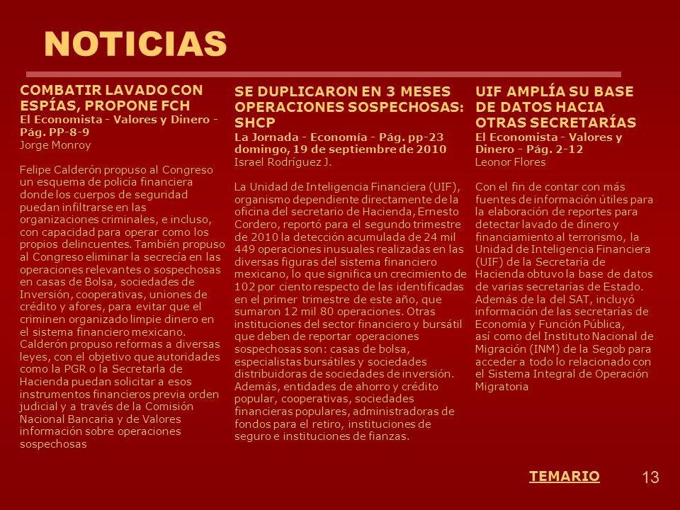 13 TEMARIO NOTICIAS SE DUPLICARON EN 3 MESES OPERACIONES SOSPECHOSAS: SHCP La Jornada - Economía - Pág. pp-23 domingo, 19 de septiembre de 2010 Israel