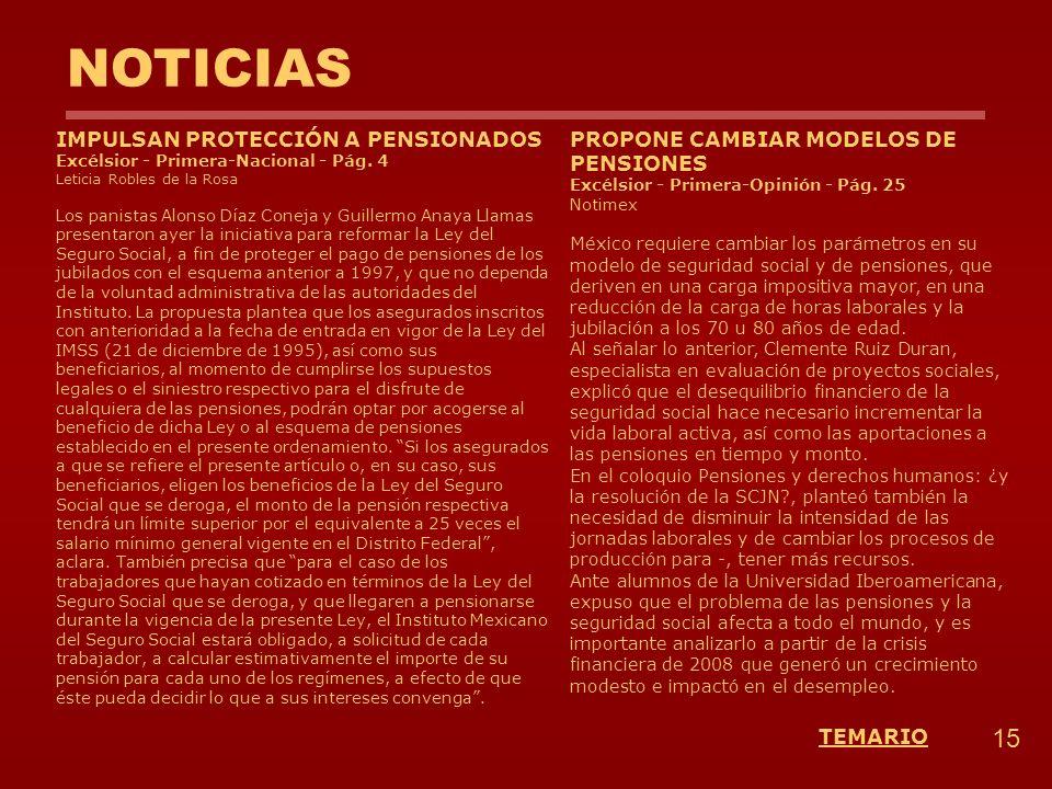 NOTICIAS 15 TEMARIO IMPULSAN PROTECCIÓN A PENSIONADOS Excélsior - Primera-Nacional - Pág. 4 Leticia Robles de la Rosa Los panistas Alonso Díaz Coneja
