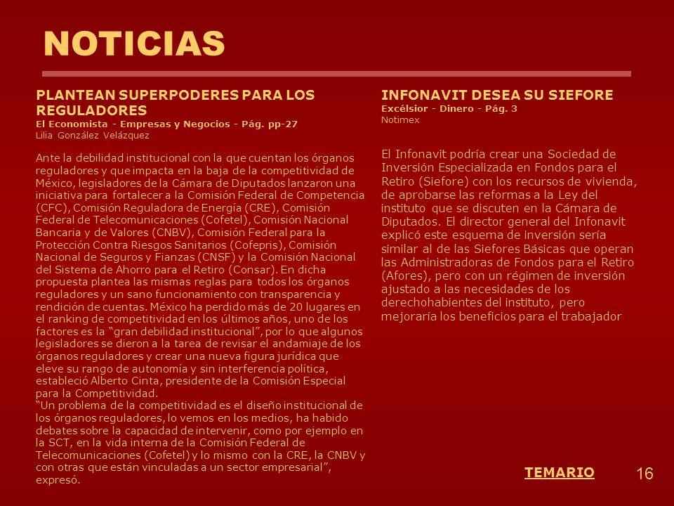 NOTICIAS INFONAVIT DESEA SU SIEFORE Excélsior - Dinero - Pág. 3 Notimex El Infonavit podría crear una Sociedad de Inversión Especializada en Fondos pa