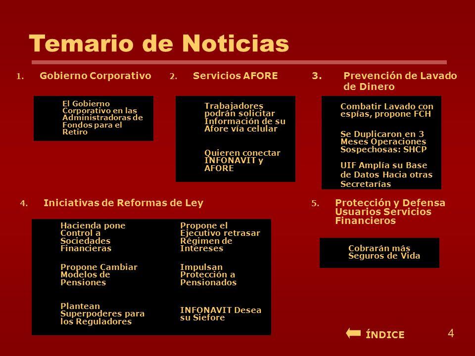 Temario de Noticias 1. Gobierno Corporativo3.Prevención de Lavado de Dinero 2. Servicios AFORE 4. Iniciativas de Reformas de Ley El Gobierno Corporati