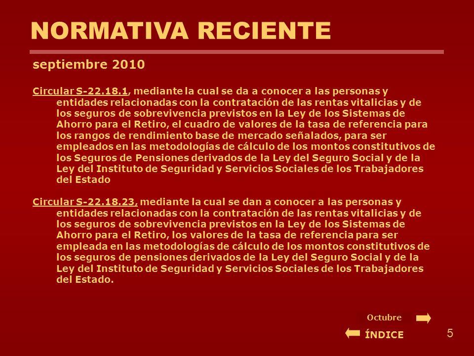 NORMATIVA RECIENTE septiembre 2010 Circular S-22.18.1, mediante la cual se da a conocer a las personas y entidades relacionadas con la contratación de las rentas vitalicias y de los seguros de sobrevivencia previstos en la Ley de los Sistemas de Ahorro para el Retiro, el cuadro de valores de la tasa de referencia para los rangos de rendimiento base de mercado señalados, para ser empleados en las metodologías de cálculo de los montos constitutivos de los Seguros de Pensiones derivados de la Ley del Seguro Social y de la Ley del Instituto de Seguridad y Servicios Sociales de los Trabajadores del Estado Circular S-22.18.23, mediante la cual se dan a conocer a las personas y entidades relacionadas con la contratación de las rentas vitalicias y de los seguros de sobrevivencia previstos en la Ley de los Sistemas de Ahorro para el Retiro, los valores de la tasa de referencia para ser empleada en las metodologías de cálculo de los montos constitutivos de los seguros de pensiones derivados de la Ley del Seguro Social y de la Ley del Instituto de Seguridad y Servicios Sociales de los Trabajadores del Estado.
