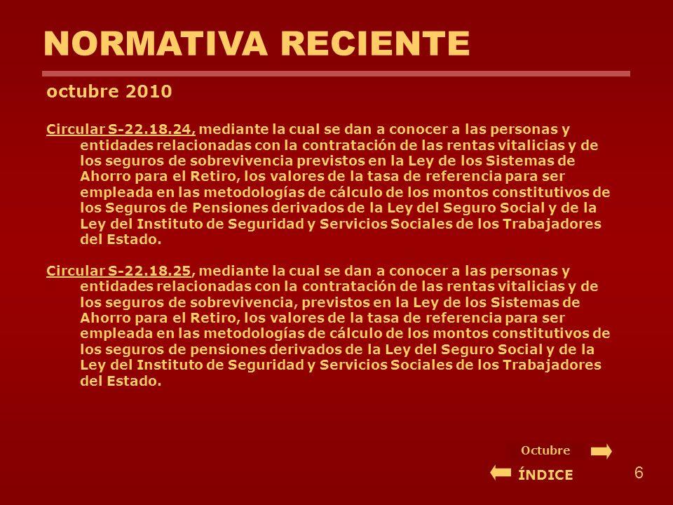 NORMATIVA RECIENTE octubre 2010 Circular S-22.18.24, mediante la cual se dan a conocer a las personas y entidades relacionadas con la contratación de las rentas vitalicias y de los seguros de sobrevivencia previstos en la Ley de los Sistemas de Ahorro para el Retiro, los valores de la tasa de referencia para ser empleada en las metodologías de cálculo de los montos constitutivos de los Seguros de Pensiones derivados de la Ley del Seguro Social y de la Ley del Instituto de Seguridad y Servicios Sociales de los Trabajadores del Estado.